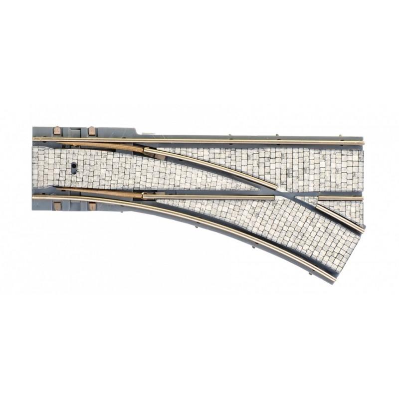 Aiguille droite 30° - H0 - code 83 - pavé - Voie Tramway - R : 204 mm